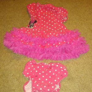Disney Minnie Mouse Polka Dot Dress Onesie 6 - 9 m